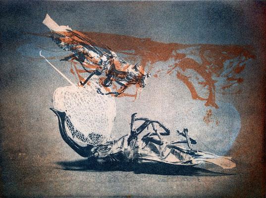Kristin Finsterbusch, gemischtes Doppel 1, Fotoradierung von 2 Platten, 2019, 15 x 20 cm