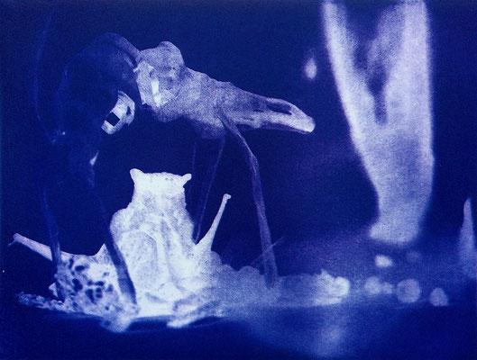Kristin Finsterbusch, travelling animals 6, Fotoradierung,  mehrfarbig überdruckt, 2019, 15 x 20 cm