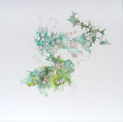 Kristin Finsterbusch, unione 11, Zeichnung, Bleistift, Farbstift, 2017, 21 x 21 cm