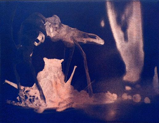 Kristin Finsterbusch, travelling animals 3, Fotoradierung,  mehrfarbig überdruckt, 2019, 15 x 20 cm