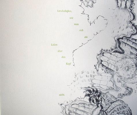 Kristin finsterbusch und Jin - Suk Kang,  Mein Wald, meine Landschaft, Künstlerbuch, Lithografie, Seite 15 von 23 Seiten, 1998, 21 x 25 cm, Auflage 20
