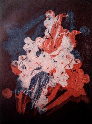Kristin Finsterbusch, Kompromiss VI, Fotoradierung,  mehrfarbig überdruckt, 20 x 15 cm, 2018