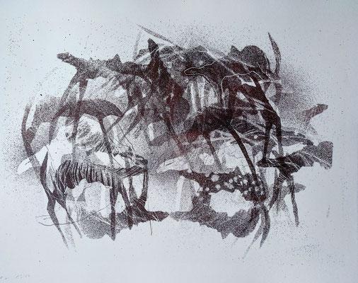 Kristin Finsterbusch, Unter Uns li 2 , Steinlithografie, 40 x 30 cm, 2017