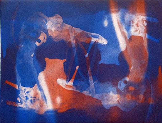 Kristin Finsterbusch, travelling animals 1, Fotoradierung,  mehrfarbig überdruckt, 2019, 15 x 20 cm