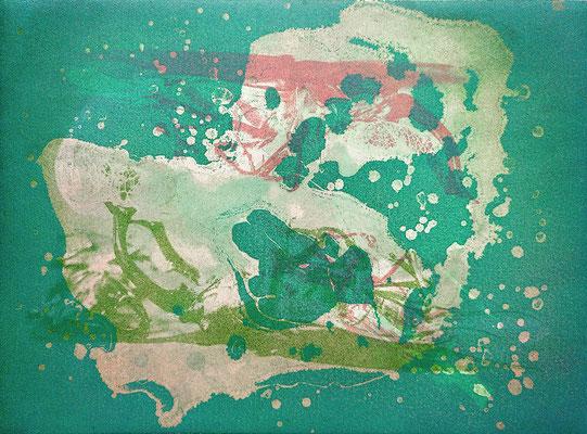 Kristin Finsterbusch, gemischtes Doppel 5, Fotoradierung  mehrfarbig überdruckt und Aquatinta, 2019, 15 x 20 cm
