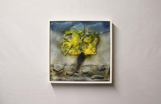Bitumen-Collage Baum (32 x 32, mit Rahmen, 460 CHF)