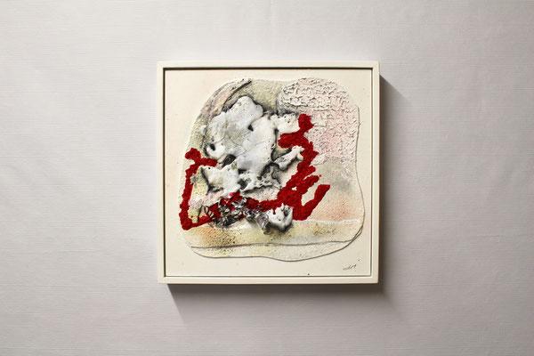 Bitumen-Collage Abstrakt (32 x 32, mit Rahmen, 460 CHF)