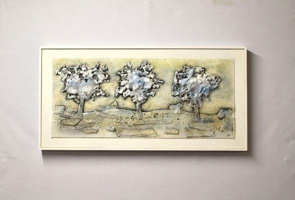 Bitumen-Collage Bäume (40 x 80, mit Rahmen, 920 CHF)