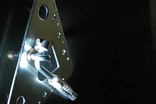 Bildaufhänger mit Ringschraube M4 und Winkelschraube mit Dübel ( Bildersicherung )