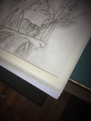 Einrahmen von Zeichnung - Glas, Distanzleiste und Karton staubdicht abgeklebt