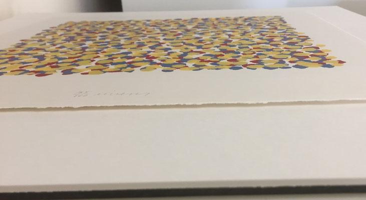 Päckli; Einrahmung staubdicht abgeklebt - Bild schwebend aufgelegt