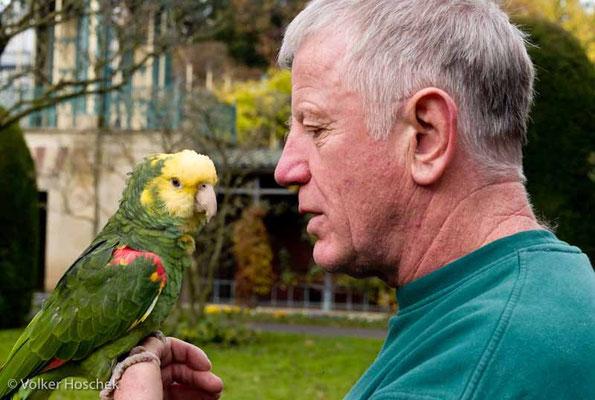 Tierarz Dr. Wolfram Rietschel mit seinem Papagei im Maurischen Garten der Wilhelma