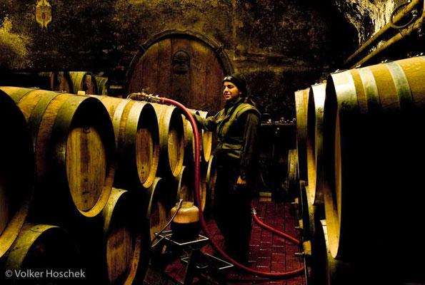 Weingut Graf Adelmann - Winzerin im Weinkeller