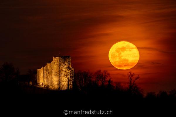 Aufgehender Mond beim Schloss Habsburg, Kanton Aargau