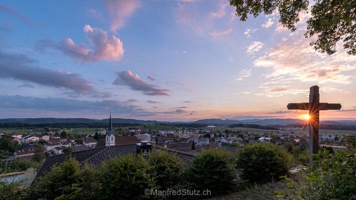 Blick vom Buechberg Fislisbach kurz nach Sonnenuntergang, Kanton Aargau