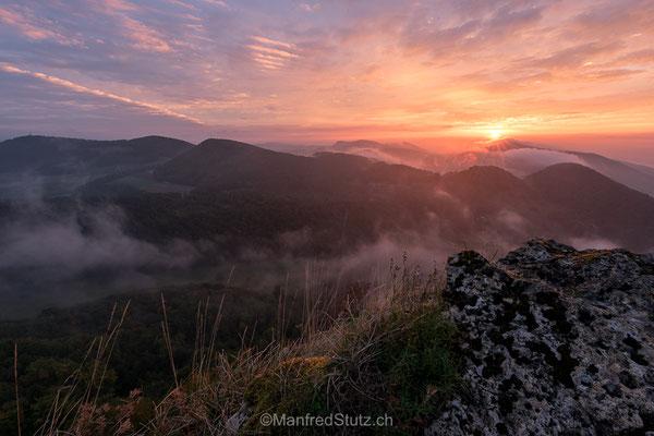 Sonnenaufgang von der Wasserfluh, Kanton Aargau