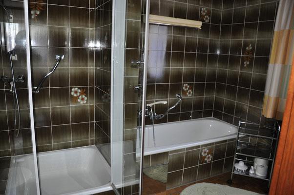 Badezimmer mit Dusche und Badewanne - Appartement 2