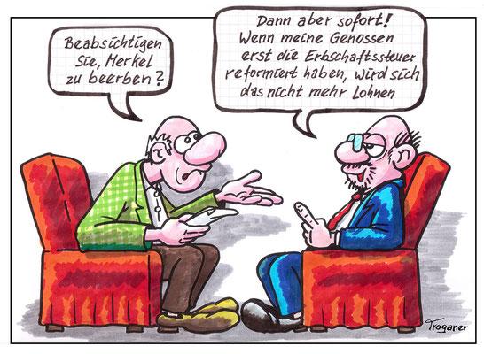 @ Troganer – Wahlkampf, Kandidat, Scholz, Merkel, beerben