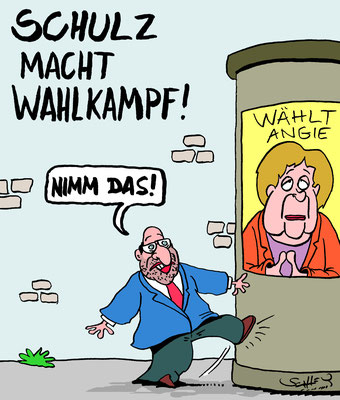 © Karsten Schley – Wahlkampf, Kanzlerin, Herausforderer, Scholz, Merkel