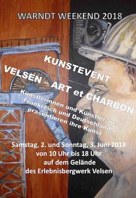 Juni 2018: Pam Jonas X Kunstevent Art et Charbon, Flyer www.erlebnisbergwerkvelsen.de