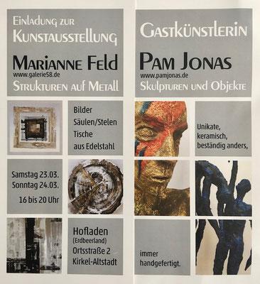 März 2019: Pam Jonas X Galerie 58 Marianne Feld, Kirkel-Altstadt