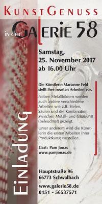 Nov 2017 bis Feb 2018: Pam Jonas X Galerie 58 / Marianne Feld