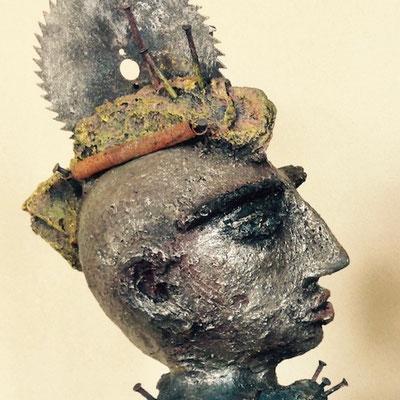MdMx von Pam Jonas: Kopf/Büste, 45 cm, Ton, Eisen (Detail)