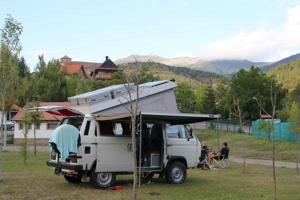 Auf dem Camping im Valle Anso (Hoch-Aragon).