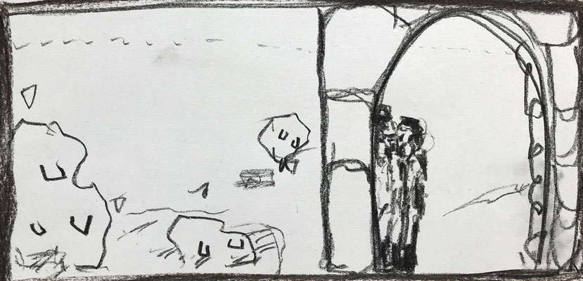 STORYBOARDS (excerpt) AN END TO JEALOUSY  2019, coal on paper, 40 cm x 40 cm