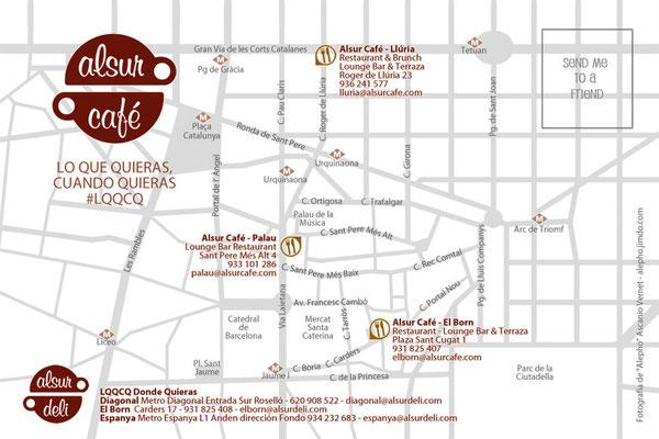 Reverso con mapa de ubicación de todos los Alsur Café y Alsur Deli
