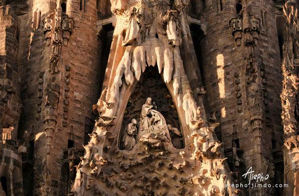 Detalle de la fachada del Nacimiento de la Sagrada Familia