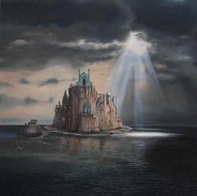 """""""Lux Caelorum"""" (Licht der Himmel) Öl auf Leinwand 100 x 100 cm (2017)"""