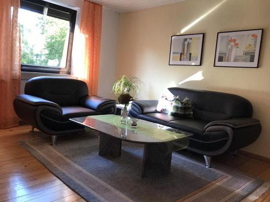 Unsere Ferienwohung hat einen großen Wohnbereich mit gemütlicher Couch und Sofagarnitur