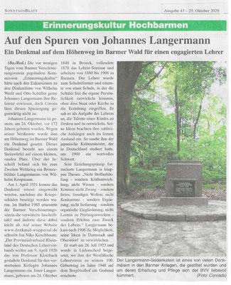 25.10.2020 Johannes Langermann Erinnerung