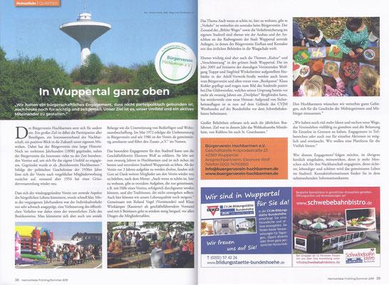 In Wuppertal ganz oben - Bericht über den Bürgerverein Hochbarmen e.V.