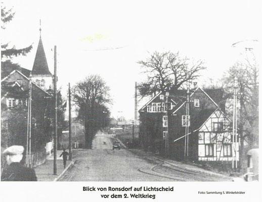 Oberbergische Straße Blickrichtung Lichtscheid mit Restaurant Jägerhof links