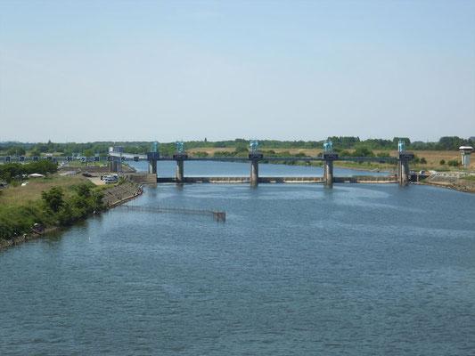 秋ヶ瀬橋上流側の荒川の堰
