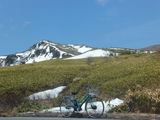 登坂した電動アシスト自転車