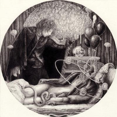 アンドロギュヌスは夢を見ない。  砂上の王国/トマス・ブルーノ   鉛筆/ケント紙 150×150mm