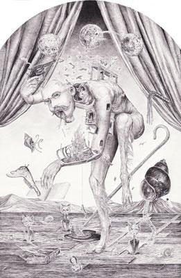 「帰納の台詞」 帰納の台詞語る時 その恵贈は火を灯す薪 その偶像は群をなす鳥 主要な生児撃ち落とされても 喪の即時にも浸る暇なし  昨日を信じ鳴る汽笛 その愛憎は犬の行き先 その偶像は求む渦巻き 苦悩の啓示打ちひしがれても どの大地でも逃げるすべなし  鉛筆/ケント紙 118×180mm