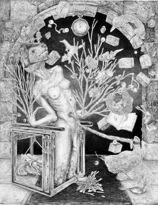 「自由への報復」 振り子の眼を カチンカチン コゾウに遺贈を 押しつけて イタチは生い立ち 振り返る 女神のコメカミ 撃ち抜いて 理性の負債を 詰め替える 太古の眼は ウランウラン デコイの時計を 一度巻き フタゴのご加護に 御乱心 痛みはカガミに 押しつけて たそがれに 我をわすれる  鉛筆/ケント紙 139×178mm