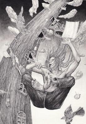 「忘却の塔」 世界を創った 罪人よ 幽閉の 時はあお向け 後悔は 床をせり上げ 王の似姿 置いてゆく  自戒を模した 諸人よ 違う意志 階に引き連れ 文明は 明日に身をなげ 東の都へ 消えていく  鉛筆/ケント紙 105×150mm