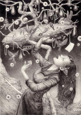 「無智の果実」 かつてイヴだった 亡霊が 木陰で空を 見上げていた  沈黙を 忘れた鳥が 流れぬ空に 埋もれている  碌々と 伸びた幹が 声の重さに 震えている  「あなたのことは忘れない」と あの恐ろしい 囁き  鉛筆/ケント紙 105×150mm