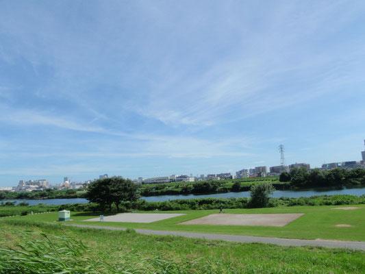 多摩川土手にあるグラウンドです。ボール蹴りや散歩などをするために日々活用しています。