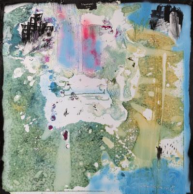 Le château et les chutes d'azur (2019) - Acrylique sur toile, 140 x 150 cm