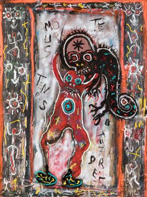 Scène de cirque - Acrylique sur toile 200 X 150 cm