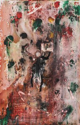 Drapeaux blancs sur fond rouge (2019) - Acrylique sur toile, 115 x 75 cm