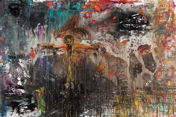 la crucifixion -  Acrylique sur toile 2x3 m