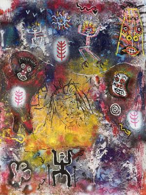La vision du Chaman - Acrylique sur toile  200 X 150 cm