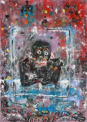 Hanuman - Acrylique sur toile  140 x 100 cm